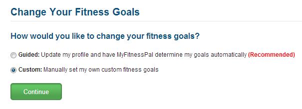 Change MyFitnessPal Goals