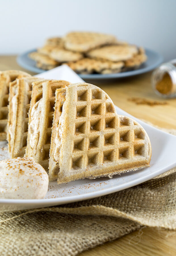 Fluffly waffles sandwiched with a delicious cinnamon cream cheese filling. These Cinnamon Roll Waffles will make you think you're not even keto! Shared via http://www.ruled.me/