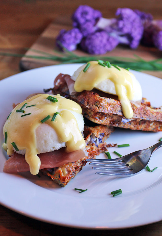 A beautifully delicious Breakfast Cauliflower Waffle with your choice of Eggs Benedict or Herbed Salmon Spread | Shared via www.ruled.me/