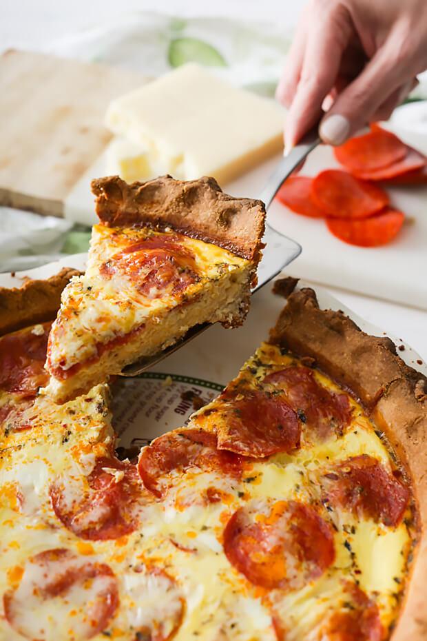 Keto Pepperoni Pizza Quiche