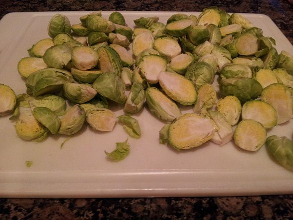 Cut the sprouts in half