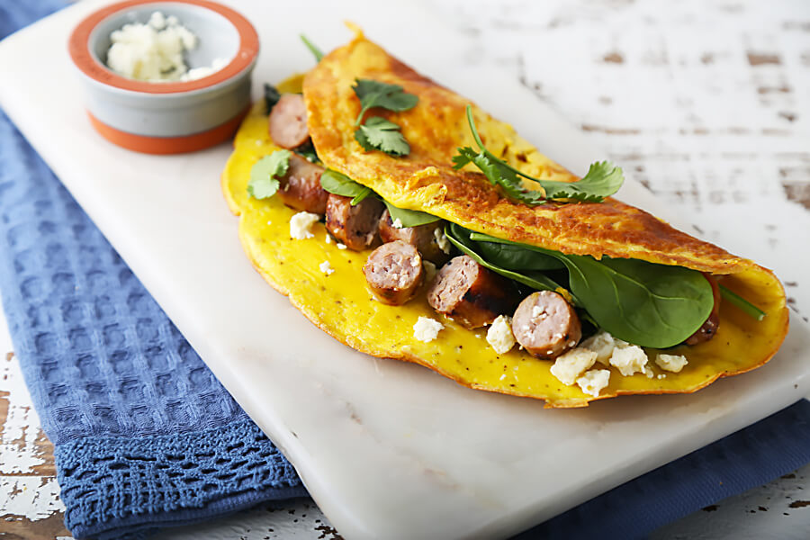 Keto Recipe: Sausage, Spinach, Feta Cheese Omelette