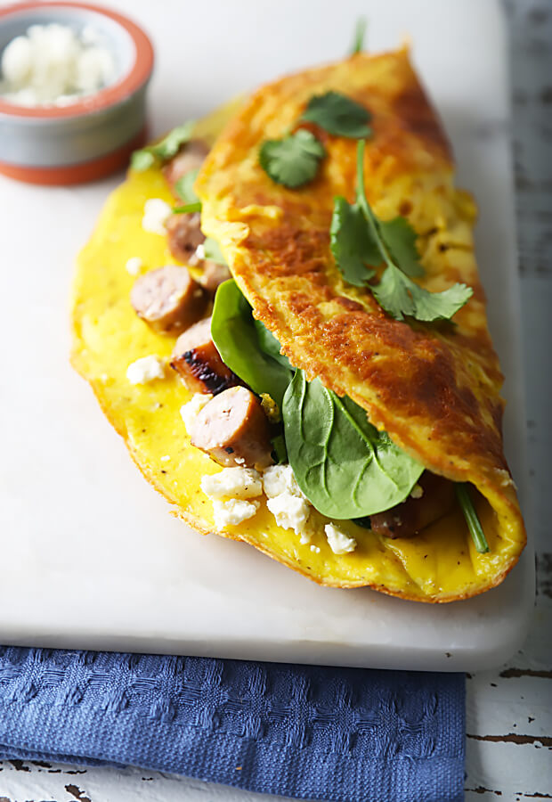 Sausage, Spinach, Feta Cheese Omelette