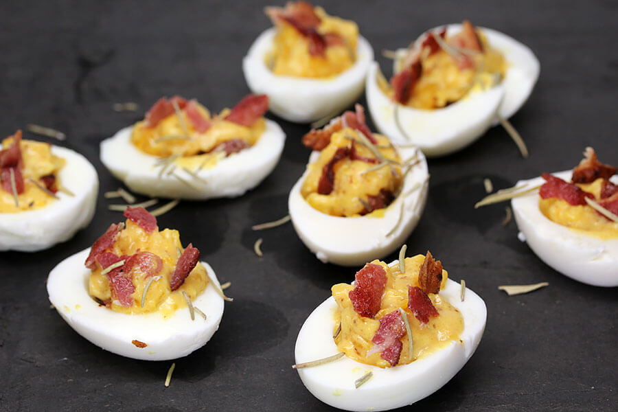 Spiced Bacon Deviled Eggs | Ruled Me