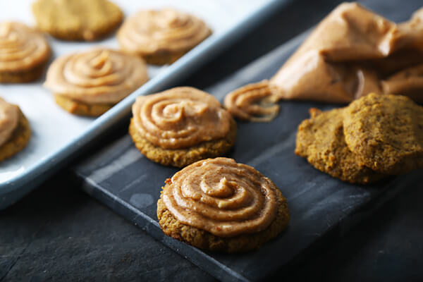 Pumpkin Flax Cookies with Almond Butter Icing