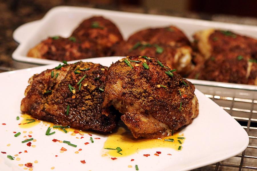 Crispy Ketogenic Curry Rub Chicken Thighs