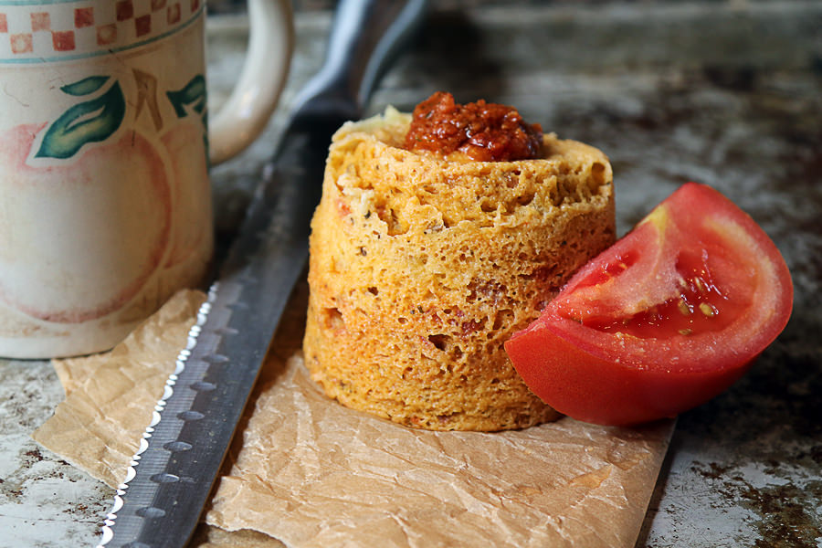 Sun Dried Tomato Pesto Mug Cake - Shared via www.ruled.me