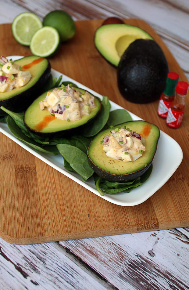 Egg Salad Stuffed Avocado | Shared via www.ruled.me