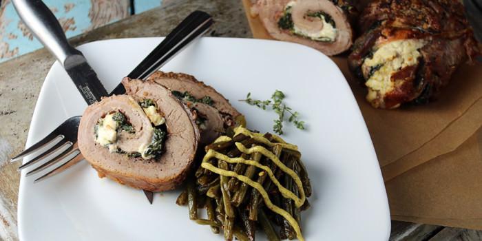 Creamy Spinach Pork Tenderloin Roulade