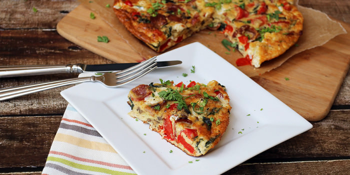 Bacon, Red Pepper, and Mozzarella Frittata