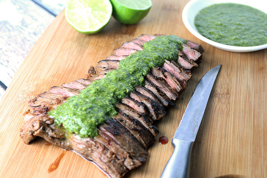 Seared Skirt Steak with Cilantro Paste | Shared via www.ruled.me