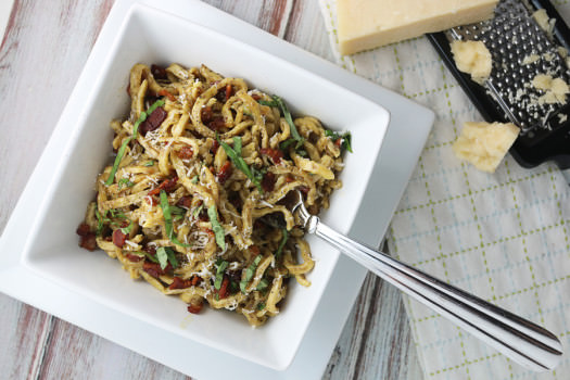 Click to see the recipe for Low Carb Pasta a la Carbonara