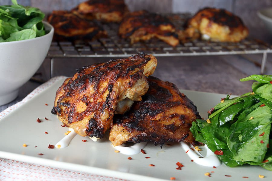 "Oven ""Grilled"" Asian Chicken Thighs"