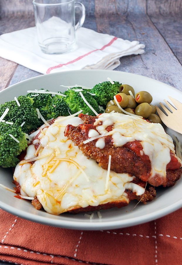 From-scratch tasting Chicken Parmesan - made low carb! Shared via www.ruled.me/