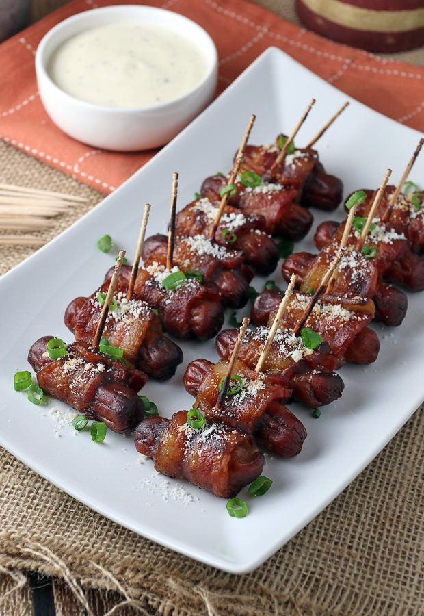 BBQ Bacon Wrapped Smokies - awesome #keto appetizer for the upcoming Super Bowl! Shared via www.ruled.me/