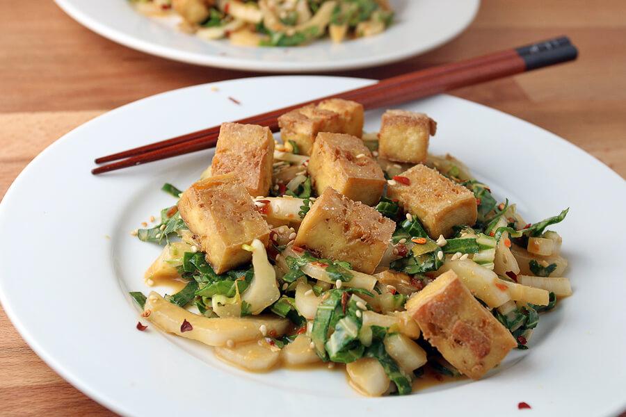 Crispy Tofu and Bok Choy Salad