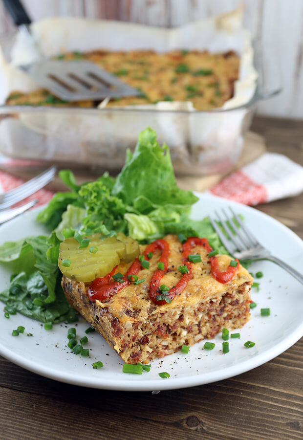 A delicious bacon cheeseburger casserole that is a perfect replacement for a salad in the colder months. Shared via //www.ruled.me/