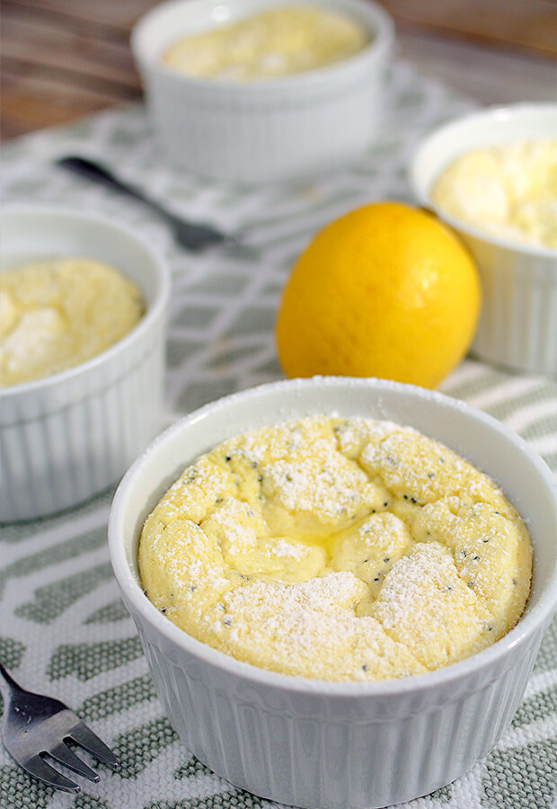 Low Carb Lemon Poppy Soufflés that are fit for dessert for 1, or a family get together. Shared via //www.ruled.me/