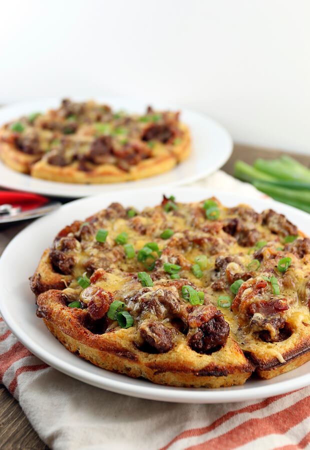 A decadent dinner for any occasion: BBQ Bacon Cheeseburger Waffles. It's a meal the whole family can enjoy! Shared via //www.ruled.me/
