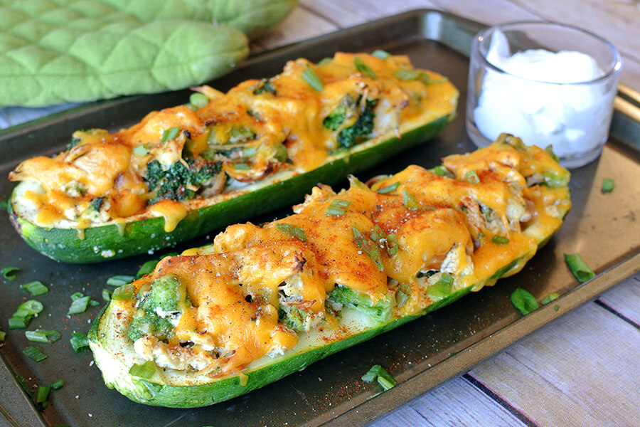 Broccoli Chicken Zucchini Boats