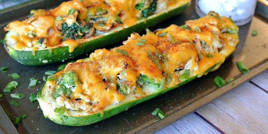 Broccoli Chicken Zucchini Boats Second