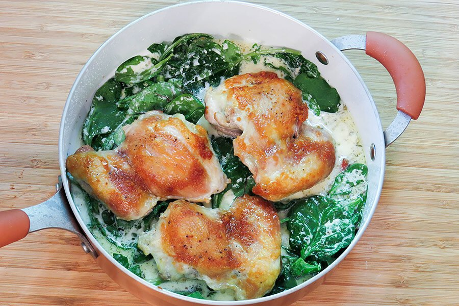 Skillet Browned Chicken with Creamy Greens