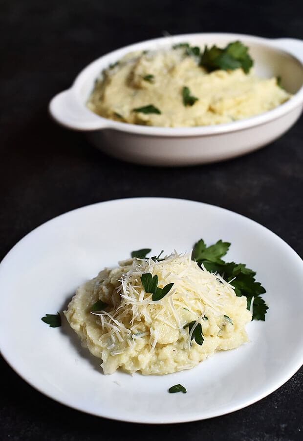 Mashed Cauliflower with Parmesan Cheese and Truffle Oil