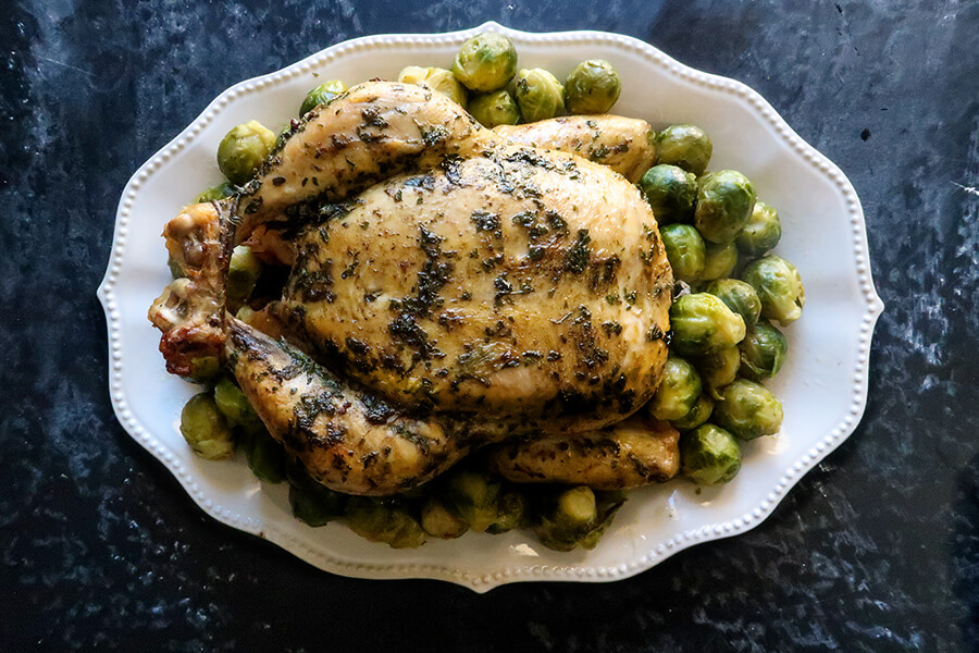 Herbed Roast Chicken with Brussels Sprouts
