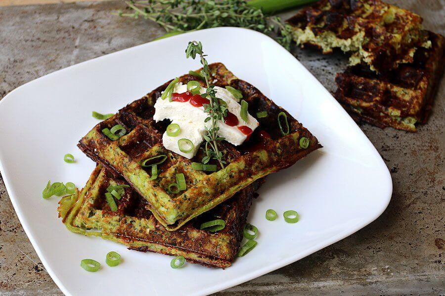 Cheesy Thyme Waffles