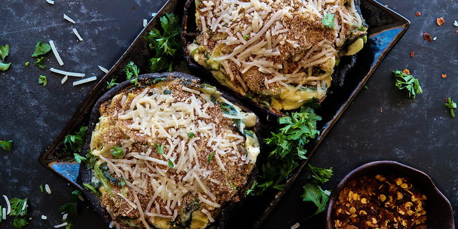 Artichoke Stuffed Portobello Mushrooms