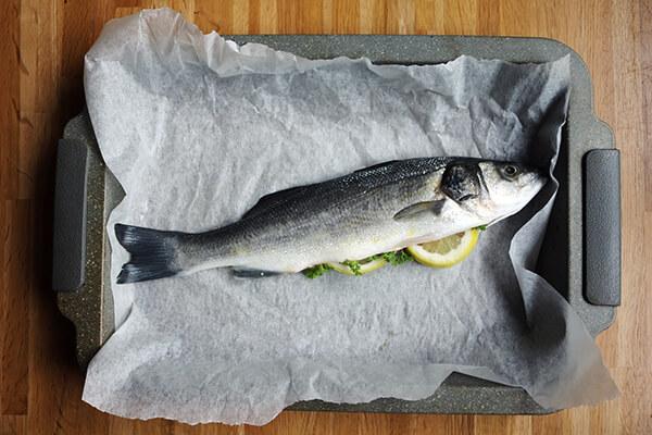 Baked Sea Bass with Herb Cauliflower Salad