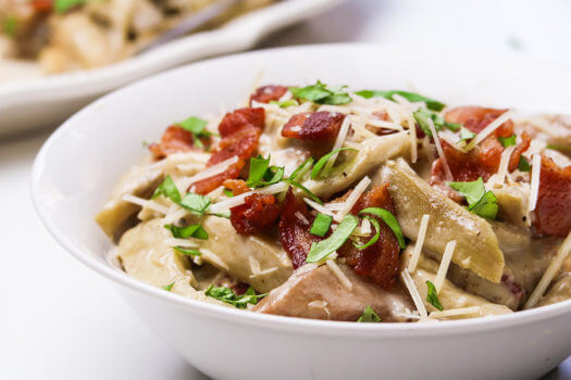 Click to see the recipe for Eggplant and Bacon Alfredo