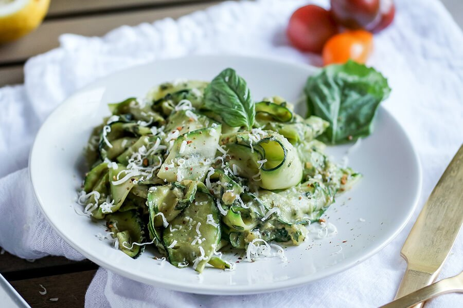 Zucchini Ribbons & Avocado Walnut Pesto
