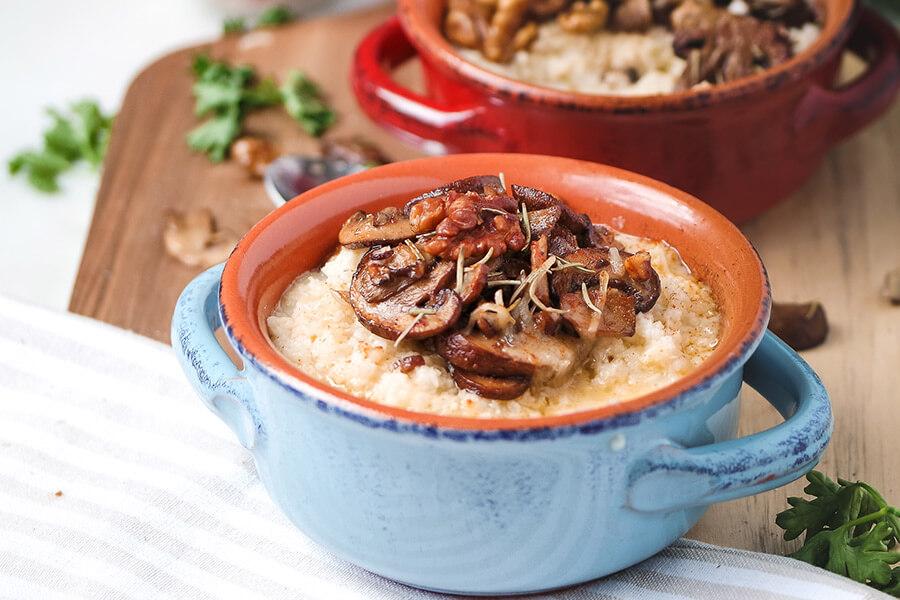 Roasted Mushroom and Walnut Cauliflower Grits