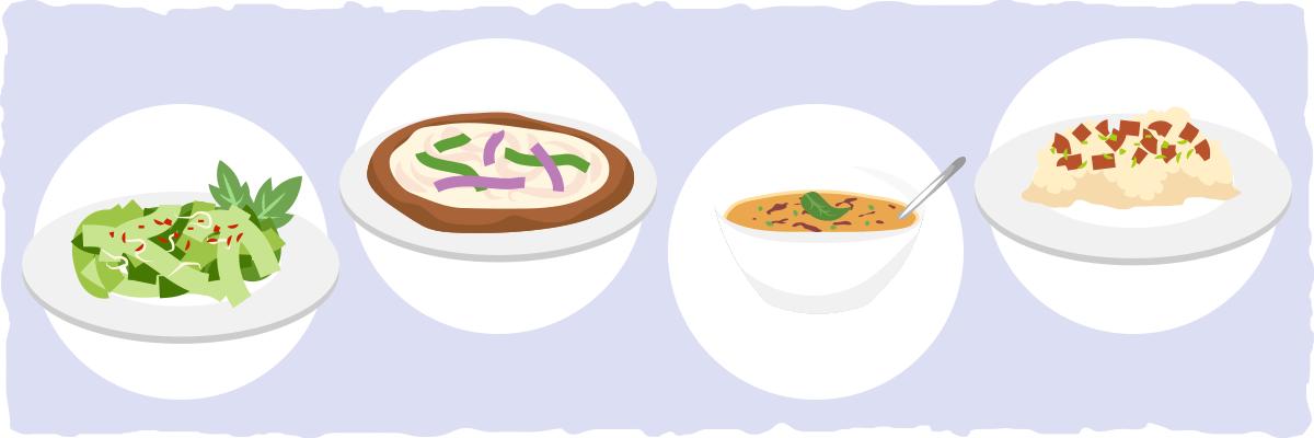 Exemplos de receitas de jantar vegetariano de ceto