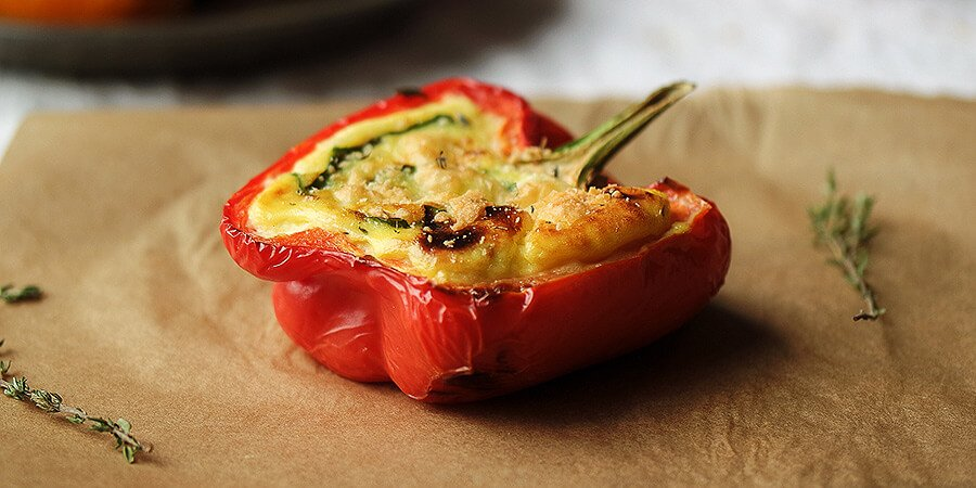 Vegetarian Three Cheese Quiche Stuffed Peppers