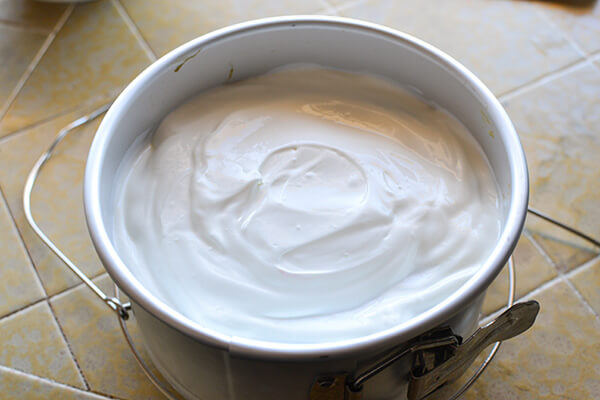 Pour the cheesecake batter into a well greased spring form pan. You will need a pan that is no larger than 6-7 inches so that it fits inside your Instant Pot.
