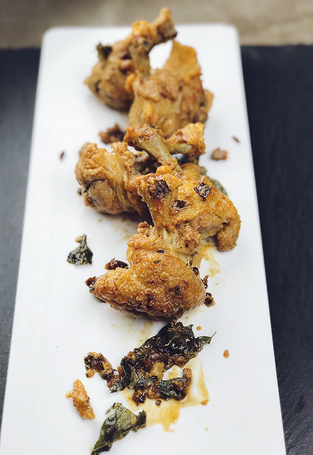 Salted Egg Yolk and Curry Leaf Oven Baked Chicken Lollipop