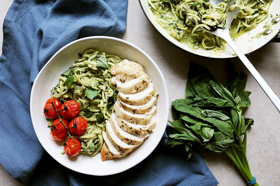 Keto Pesto Chicken Pasta