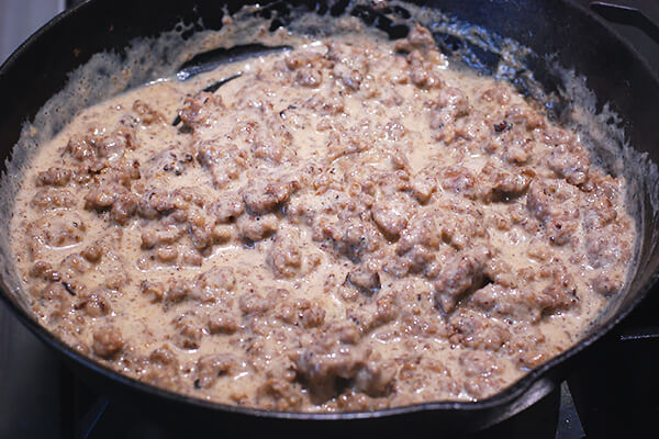 Keto Sausage Gravy and Biscuit Bake