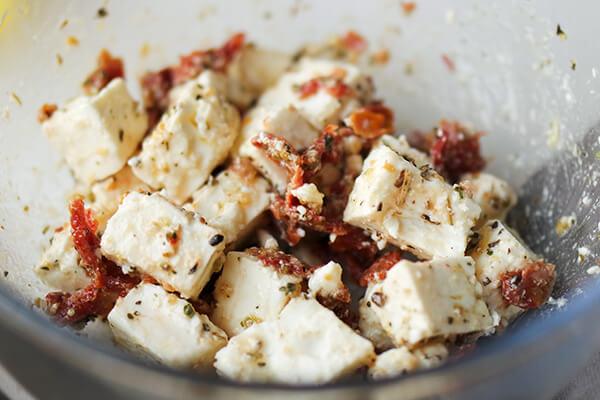 Five Minute Marinated Feta & Sun-dried Tomato Salad