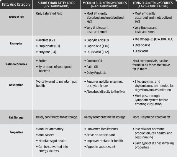 Fatty Acid Types Comparison