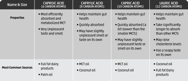 Table MCT Oil Types