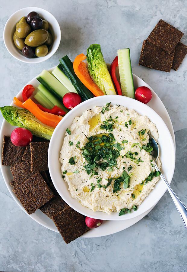 Cauliflower Hummus with Harissa Crackers