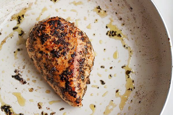 Marinated Pesto Chicken Salad with Basil Balsamic Vinaigrette