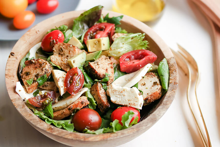 Marinated Pesto Chicken Salad with Basil Balsamic Vinaigrette