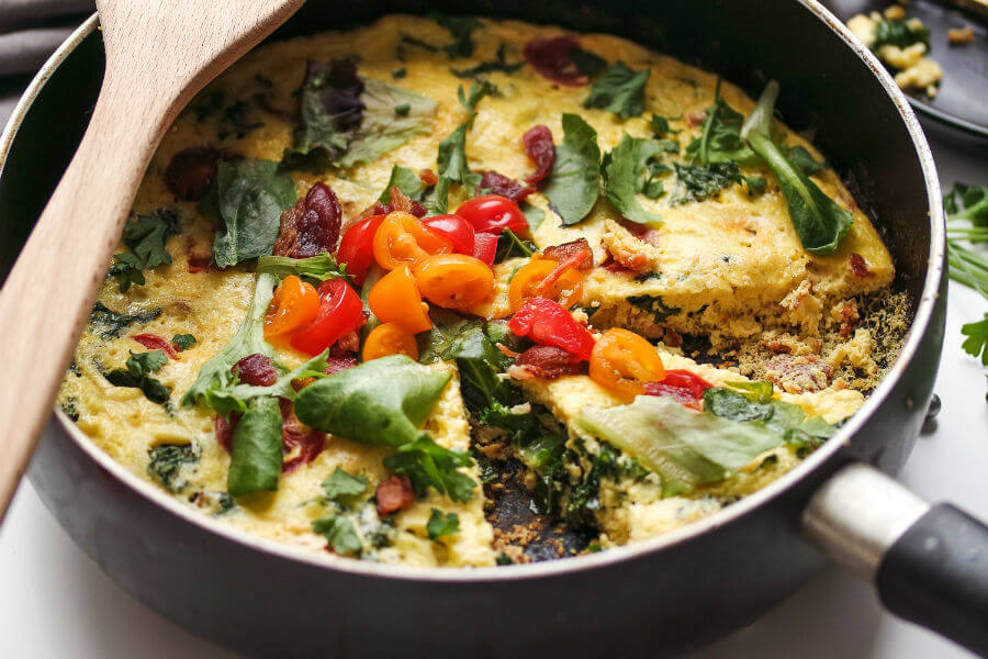 Bacon Kale and Tomato Frittata