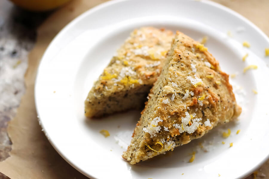 Keto Lemon Sugar Poppy Seed Scones
