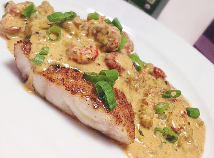 Pan Fried Catfish with Crawfish Cream Sauce