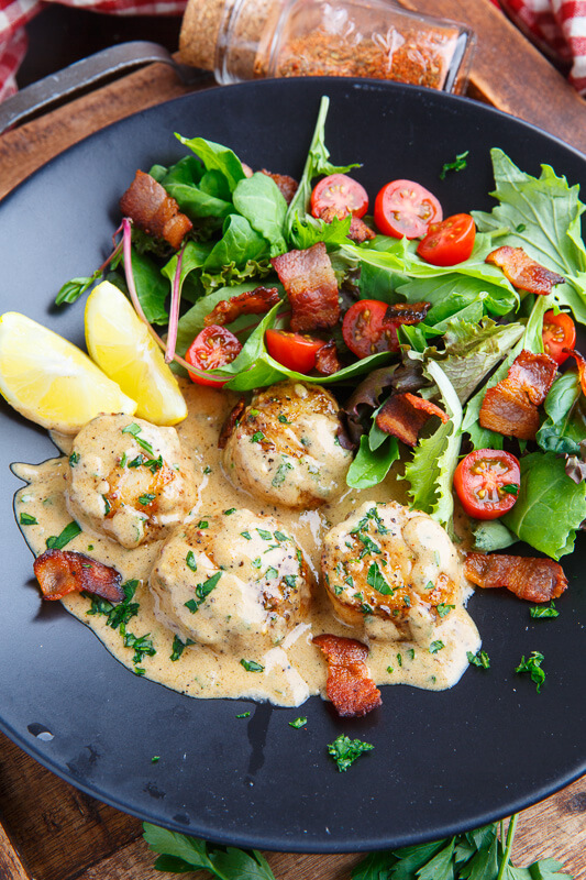 Seared Scallops in Cajun Mustard Cream Sauce